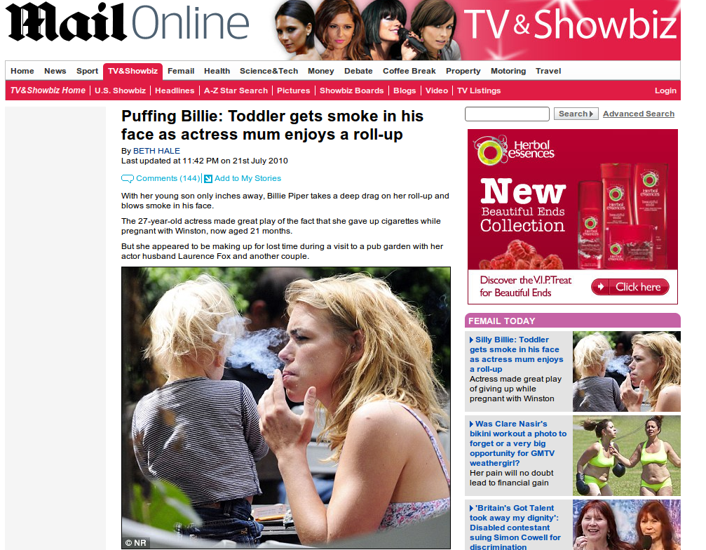 Mail Online image of Billy Piper smoking