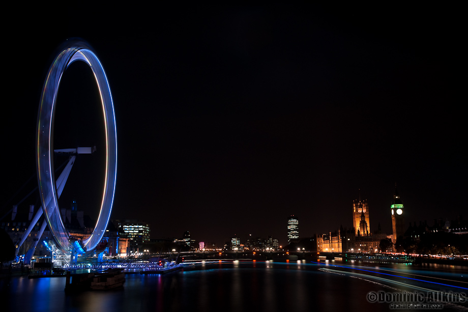 The London Eye and Houses of Parliament - 3 minute exposure