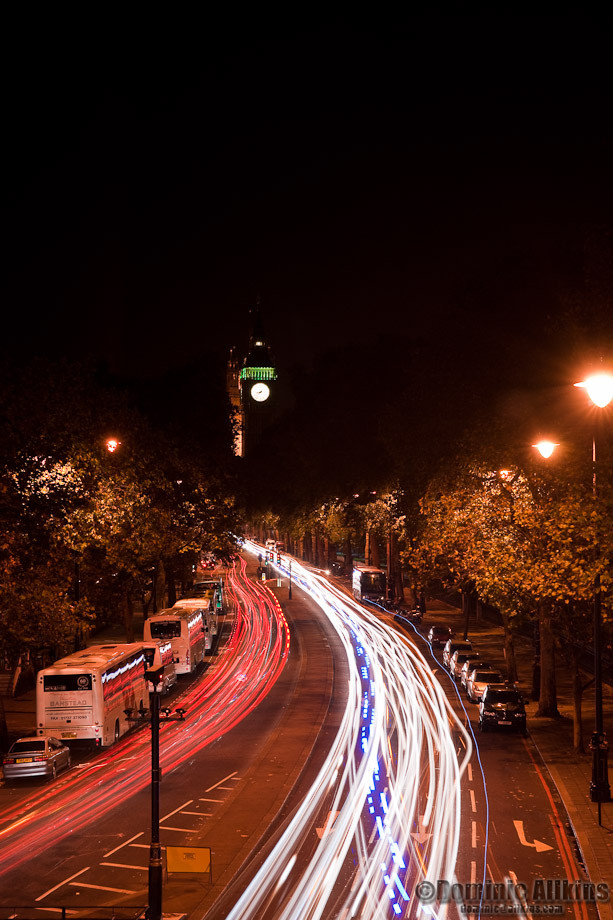 The Embankment at night from the Hungerford Bridge